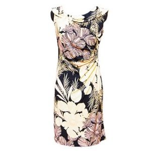 London Times Floral Print Ruched Side Dress